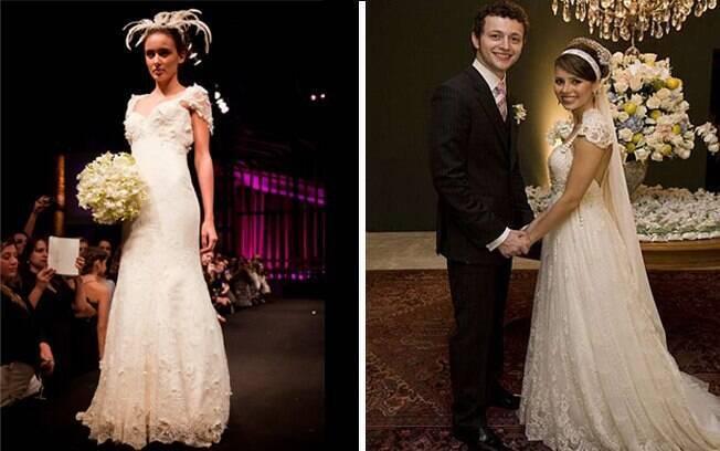 Estilo romântico: para noivas delicadas, como a cantora Sandy. Vestido de Sheila Kracoshansky para a Bride Style 2011
