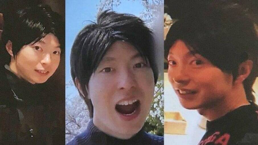 Fotos de Takashi em sites de relacionamento