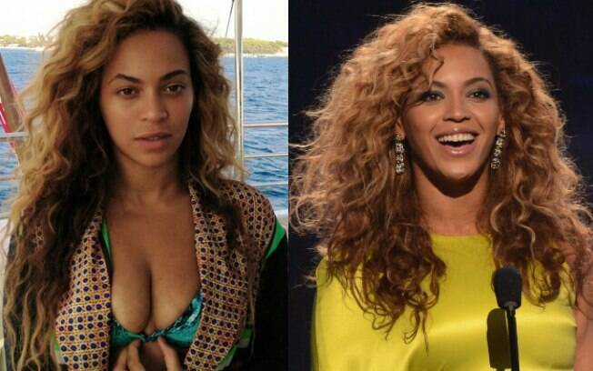 Beyoncé mostrou eu seu site oficial uma foto em que aparece sem maquiagem e com biquíni. Veja o antes e o depois da cantora