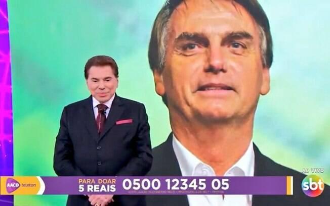 Bolsonaro liga para Silvio Santos durante apresentação do Teleton
