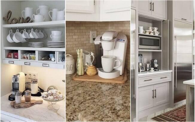 Para quem já está acostumado a ter a cafeteira na cozinha e consumir a bebida ali todos os dias, é possível livrar espaço em uma bancada ou incluir um novo móvel especial para acomodar o cantinho do café