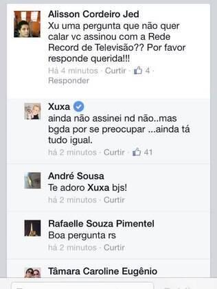 Declaração de Xuxa no Facebook