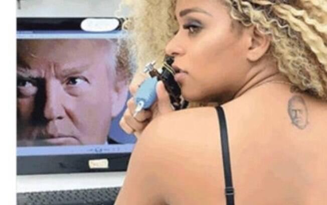 Érika Canela fez tatuagem em homenagem a Donald Trump