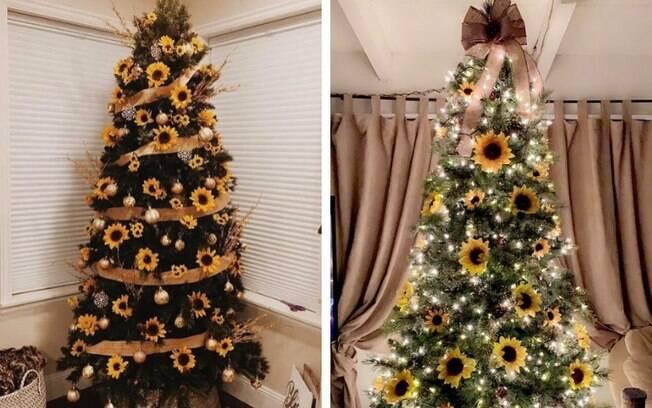 Árvore de Natal com girassóis