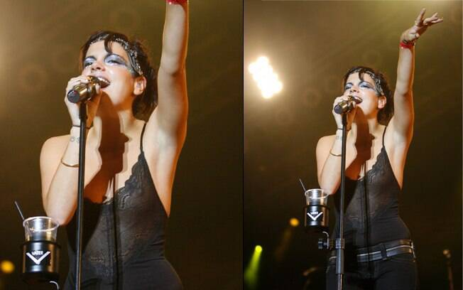 6e17c1aec Lily Allen estava cantando quando o clique indiscreto mostrou que ela  estava sem sutiã. Roupas
