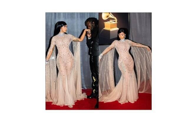 Cardi B clicada no tapete vermelho do Grammy Awards 2020