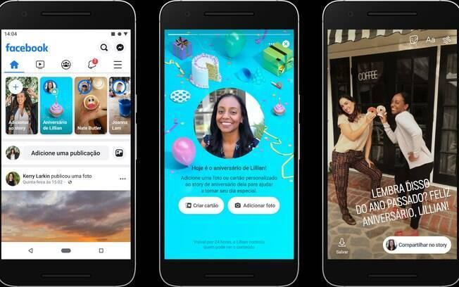 Os 'Stories de Aniversário' do Facebook permitem que você compartilhe cartões virtuais, fotos ou vídeos com seus amigos