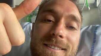 Eriksen faz selfie e tranquiliza fãs: