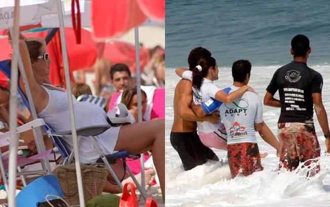 Enquanto Luana descansava no guarda-sol, Pedro Scooby ajudava amigos a se banhar no mar