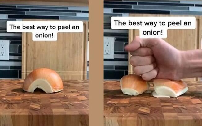 Neste método, você não chega perto da cebola e ainda retira a casca facilmente