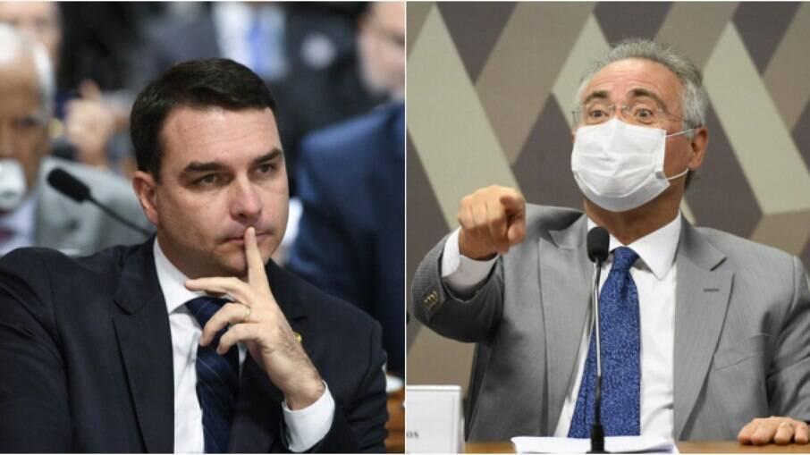 Flavio Bolsonaro (Patriota-RJ) e Renan Calheiros (MDB-AL)  durante sessão da CPI da Covid