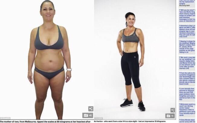 Jornal 'Daily Mail' mostra fotos de antes e depois de Skei Hanlon, e barriga sarada chama a atenção