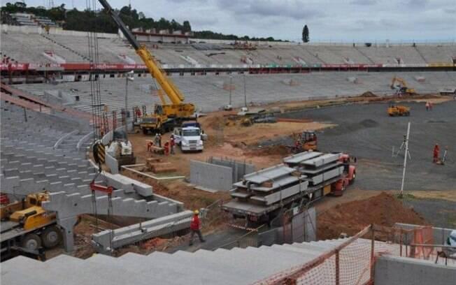 O Beira-Rio, que receberá os jogos da Copa  2014 no Rio Grande do Sul, tem 58% de suas obras  prontas