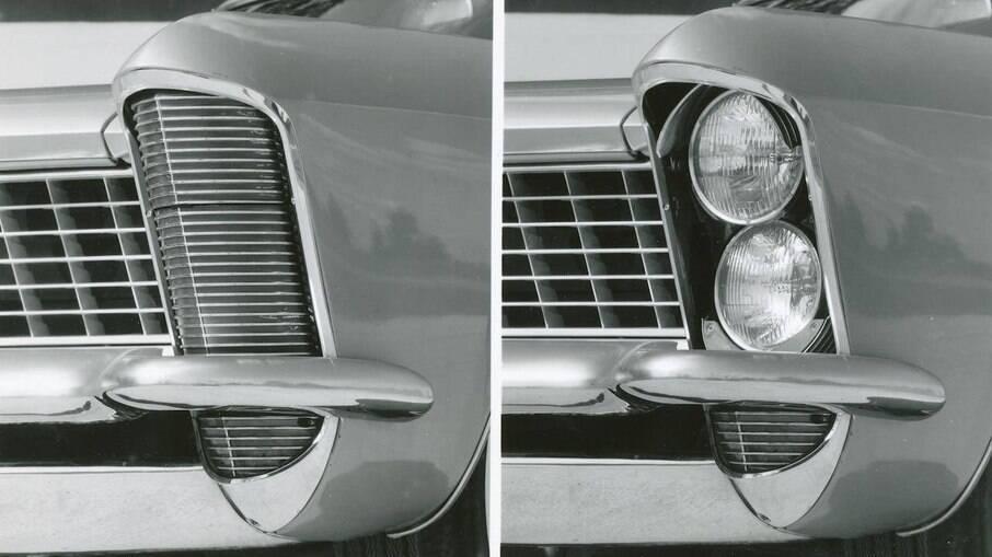 No Buick Riviera, os faróis são posicionados nas extremidades do para-lama
