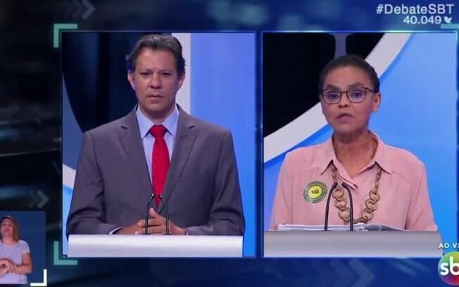 Fernando Haddad (PT) foi alvo prioritário no debate presidencial, pressionando Marina por seu apoio ao impeachment de Dilma