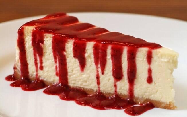Foto da receita Cheesecake americana tradicional pronta.