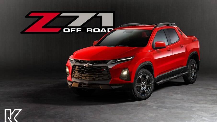 Chevrolet Montana Z71: projeção mostra como deverá ficar a versão esportiva da nova picape da GM