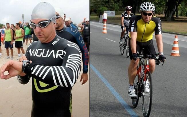 Luciano Huck: nas etapas de natação e ciclismo