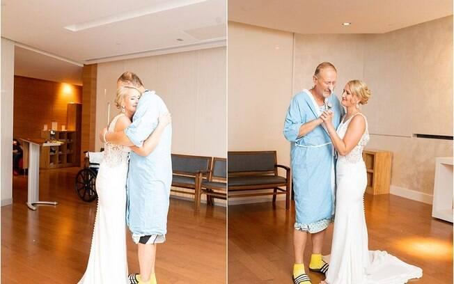 Ao saber que o pai não poderia ir ao casamento, a noiva decidiu fazer uma surpresa à no hospital em que estava internado