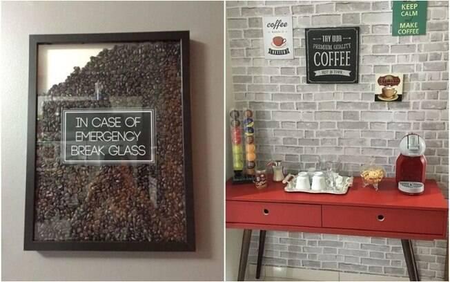 Quadros, placas e até grãos de café são boas opções para decorar e personalizar o cantinho do café