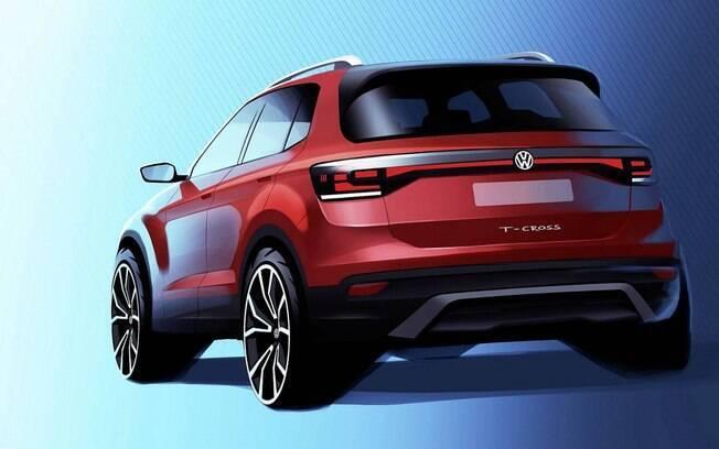 VW T-Cross: desenho mostra traseira do novo SUV da marca alemã, que também será vendido na Europa