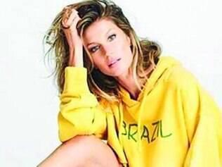 """Gisele Bündchen em ensaio para """"Elle"""" com as cores da seleção brasileira"""