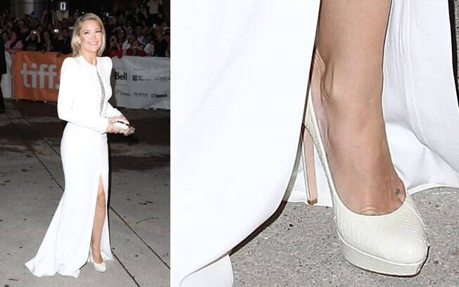 7569351aa Vale Branco total também no look festa de Kate Hudson. Interessante notar  que mesmo com vestido Os sapatos ...