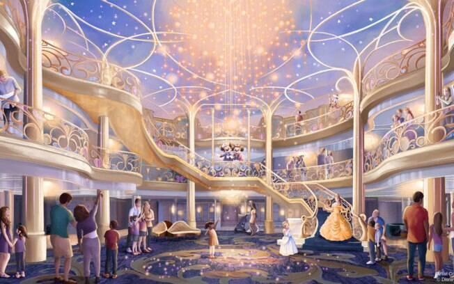 Atrium do navio Disney Wish com temática da Rapunzel