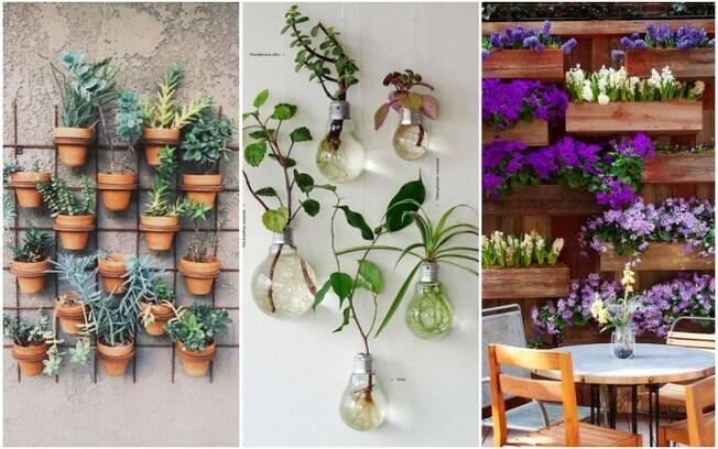 Para criar um jardim vertical, é possível usar vasinhos, estruturas próprias para isso e até recipientes reciclados