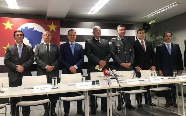 Governador eleito em São Paulo, João Doria (PSDB), com os integrantes de sua nova cúpula da Segurança Pública