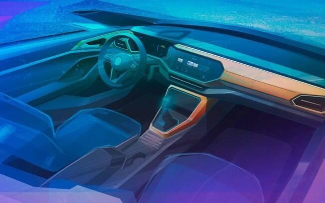 Interior do Volkswagen T-Cross, instantaneamente, remete ao do Polo, como verá na imagem a seguir