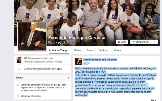FHC usou sua conta no Facebook para negar acusação feita por Cerveró