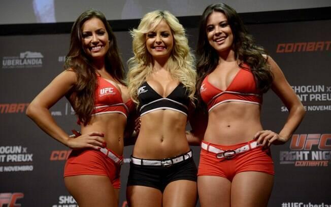 Luciana Andrade (à esquerda), Jhenny Andrade (centro) e Camila Oliveira na pesagem do UFC Uberlândia