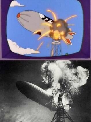 O desastre de Hindenburg, o maior dirigível construído na história.