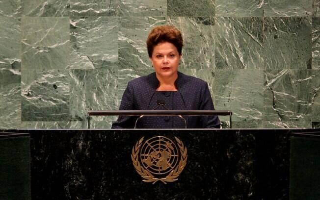 Presidenta Dilma Rousseff durante seu primeiro discurso na ONU
