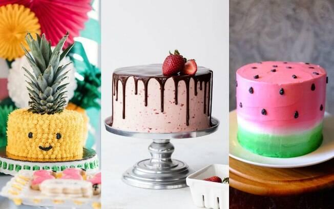 Se você não gosta de pasta americana, fique tranquila, já que há vários bolos divertidos sem ela para seguir o tema frutas