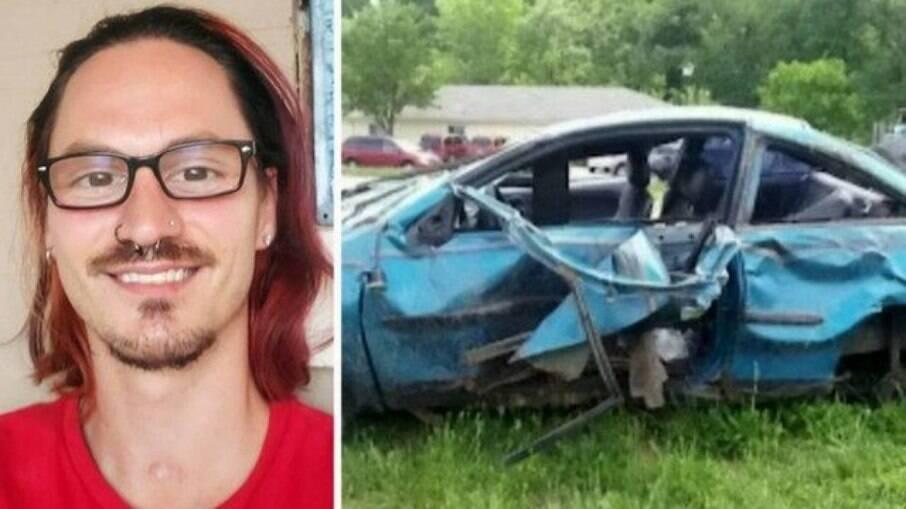 O carro de Paul destruído após acidente nos EUA