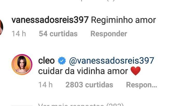 Cleo rebate comentários