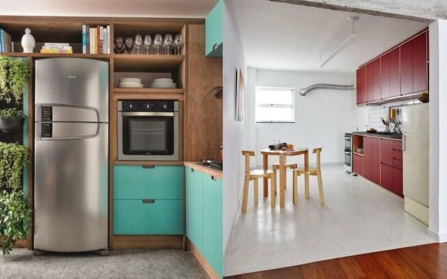 A madeira recebe bem as pontuações de cor na cozinha