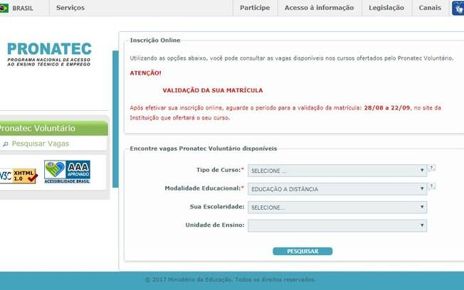 Inscrições para o Pronatec Oferta Voluntária devem ser feitas apenas pela internet até o dia 18 de agosto