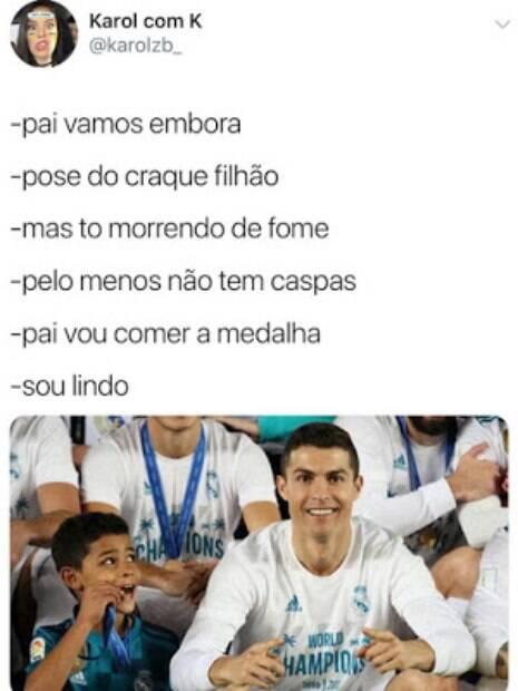 Fotos de Cristiano Ronaldo com seu filho viraram meme