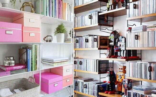 Usar caixas em escritórios e arrumar coleções de CDs e DVDs por ordem alfabética pode ajudar a manter tudo arrumado