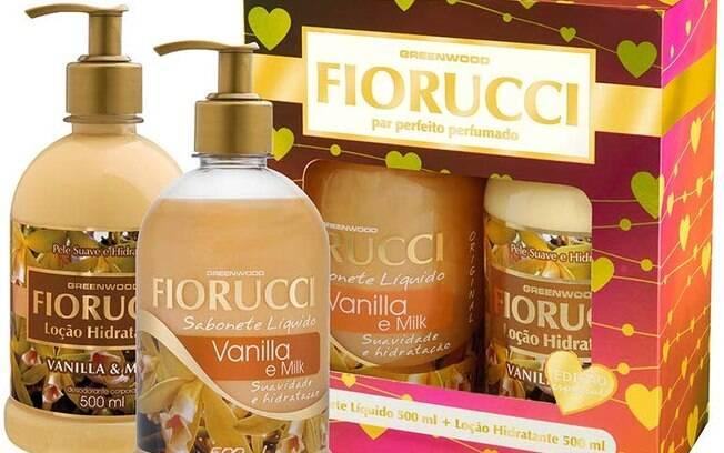 Sabonete Líquido 500ml, Loção Hidratante 500ml e Caixa Presente Vanilla, Fiorucci