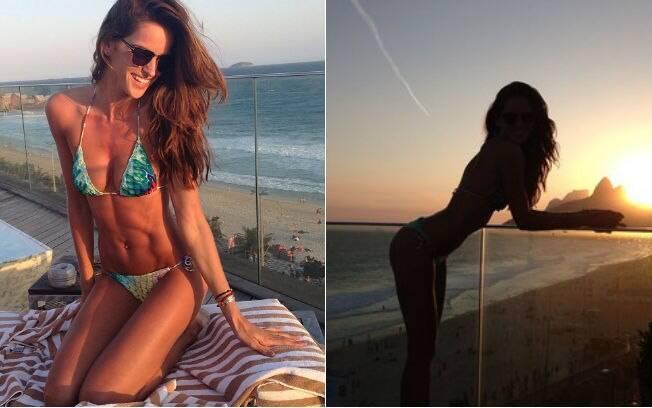 Izabel Goulart mostra barriga sarada em foto postada no Instagram, tirada na cobertura do hotel Fasano, no Rio. Em outra imagem, ela faz pose provocante.