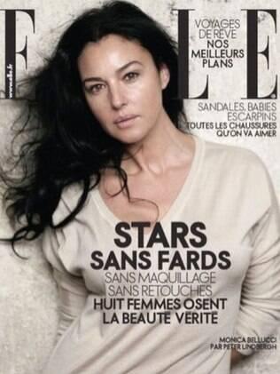 Monica Bellucci sem maquiagem na Elle