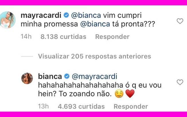 Bianca Andrade flerta com Mayra Cardi no Instagram