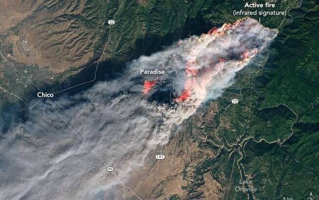 Imagem divulgada pela Nasa mostra alcance dos incêndios florestais na Califórnia
