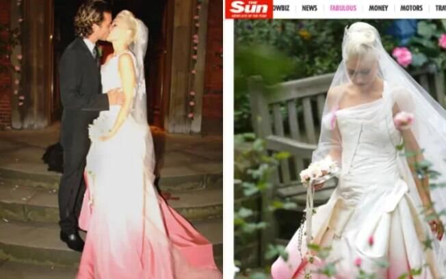 Gwen Stefani usou um vestido de noiva que não favorecia o corpo por causa dos recortes e degradê