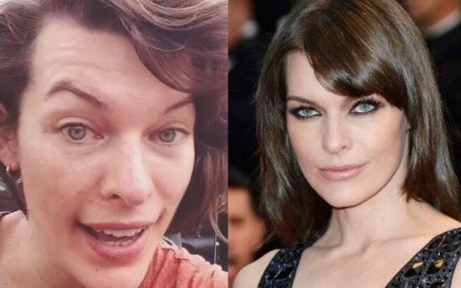 Antes e depois: Milla Jovovich de cara lavada e com maquiagem