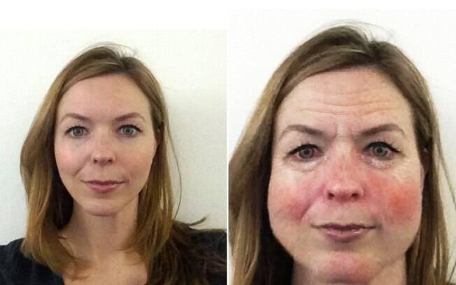 Na foto da esquerda o programa capta a imagem atual da mulher. Ao lado, a projeção de como ela ficaria após dez anos consumindo álcool em excesso